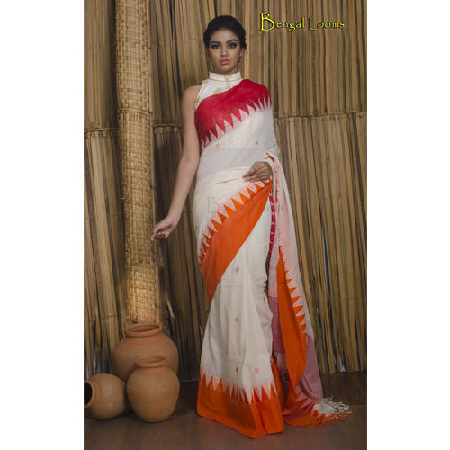 575f891322 Khadi Soft Cotton Saree with Ganga Jamuna Border in Off White, Red and  Orange