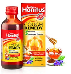 Plastic Amber coloured Bottle Dabur Honitus Syrup, For Dry Cough, Bottle Size: 100 ml