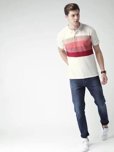 0374e69d3c7 Mast & Harbour Men Off White Striped Polo Collar T Shirt