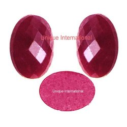 Indian Dyed Ruby Oval Shape Checker Cabochon Gemstones