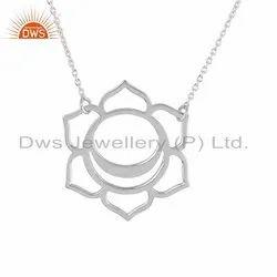 White Rhodium Plated 925 Silver Svadisthana Chakra Chain Pendant