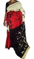 100% Pure Printed Cotton Mulmul Saree With Out Blouse Piece, Without Blouse