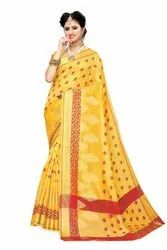 Banarasi Rich Pallu Party Wear Yellow Saree With Blouse Piece
