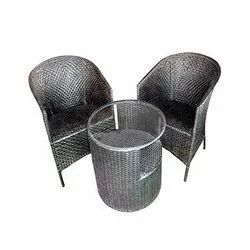 Universal Furniture Garden & Balcony Black Table with 2 Chairs