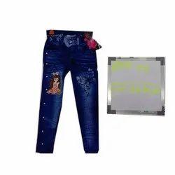 Stretchable Blue Kids Printed Denim Jeans, Machine wash
