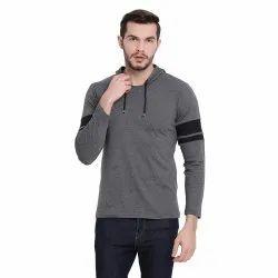 Cotton Vimal Jonney Dark Grey Full Sleeve Hoodie T Shirt For Men
