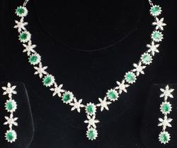 Party Wear Emerald Necklace Set