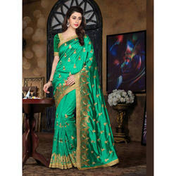 Mysore Silk Green And Golden Pure Silk Saree