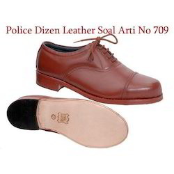 Brown Leather Police Shoes, Size: 3 To 14