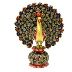 Wooden Stone Work Golden Neck Peacock Small