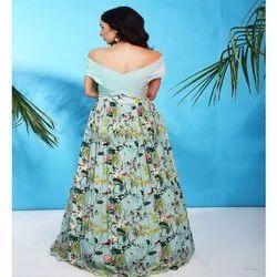 Sky Blue Ladies Party Wear Printed Designer Dress