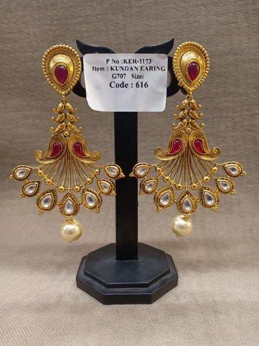 b02ec74d1c6 Golden Copper Metal Kundan Earrings