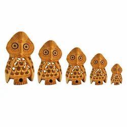 5 Owl Set Jali Wooden Carving
