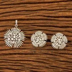 Designer Classic Rhodium Plated Pendant Set 401045