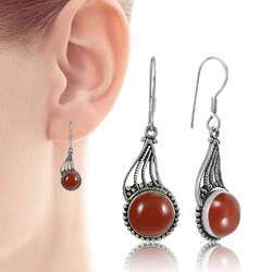 Carnelian Gemstone Silver Earrings