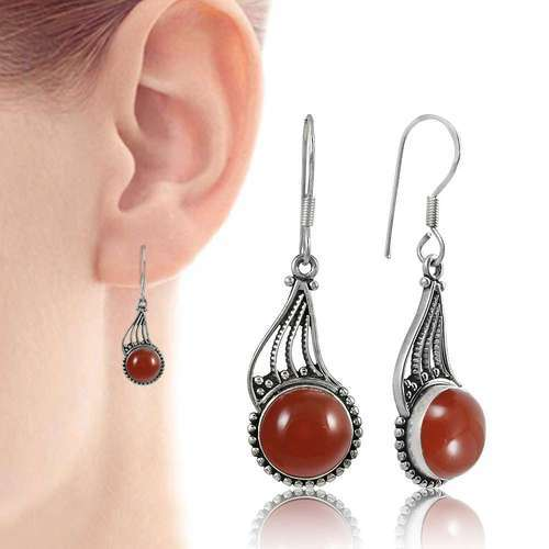 Festival Carnelian Gemstone Silver Earrings