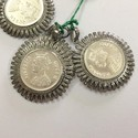 India Coin Natural Diamond Charms 925 Sterling Silver