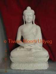 Meditation Buddha Statue In White Marble