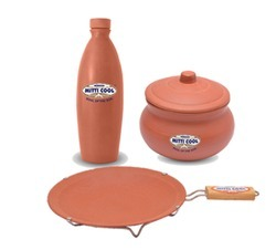 Combo Offer Simple Tawa With Handle, Curd Pot,Water Bottle