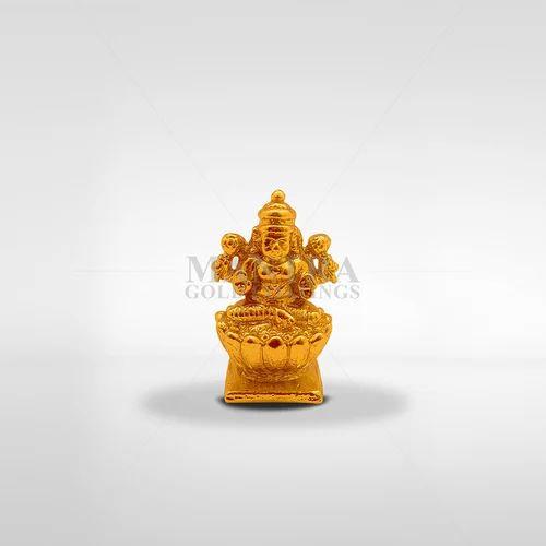 Gold Plated Lotus Lakshmi Statue