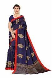 Banarasi Art Silk Party Wear Navy Blue Saree Blouse Piece