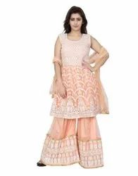 Party Wear Ethnic Wear Embroidery Garara, Size: Freesize, Wash Care: Dry Clean
