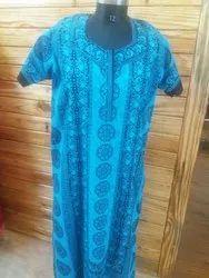 Full Length Printed Cotton Sleepwear Nighty, Size: Free size