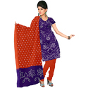 Cotton Silk Lavender With Tomato Designer Print Bandhej Suit