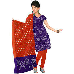 4aa9a86386 Cotton Silk Lavender with Tomato Designer Print Bandhej Suit