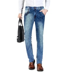 Denim Faded Mens Jeans Fashion Mid Blue