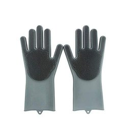 1 Pair Silicone Cleaning Brush Scrubber Glove (Multi Colors), For Kitchen, Finger Type: Full Fingered