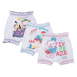 Girl & Boy Baby White Printed Bloomers