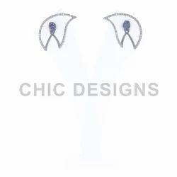 Chic Designs Diamond Blue Sapphire Ear Jacket