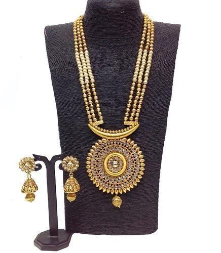 aa5acafb0e8dfe Amin Export Kundan 3 Lines Pearls And Designer Pendant Set, Size: Standard