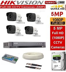 Hikvision Ultra HD 5mp Cameras Combo Kit 4ch Hd DVR  4 Bullet Cameras  1tb Hard Disc  Wire Roll  Sup