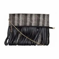 Azzra Black Fringed Design Golden Chain Sling Bag