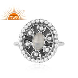 Rainbow Moonstone Gemstone Antique Oxidized 925 Silver Ring Jewelry