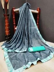 Lcyra Printed Ethnic Saree With Blouse Piece