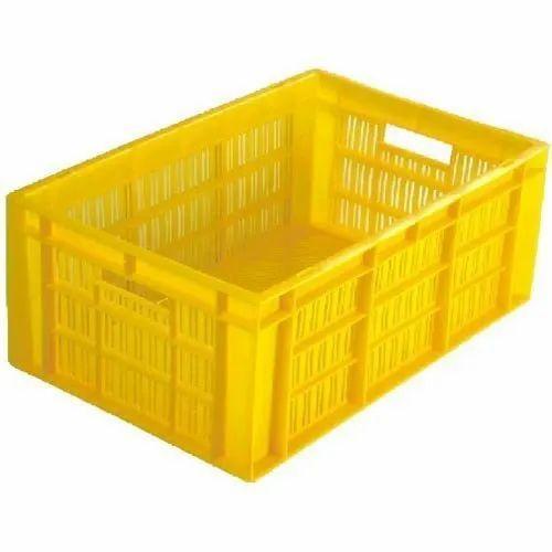 Yellow Rectangular Plastic Crates