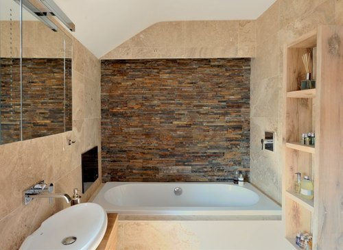 Plain Bathroom Natural Stone Tiles, Thickness: 15-20 mm