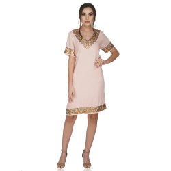 Vintage Brass Sequins Border Light Pink Dress