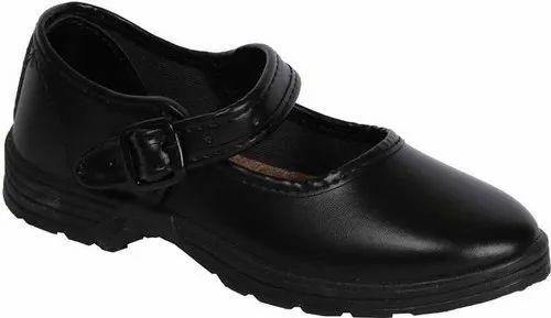 Synthetic Leather Girls School Belly Strap Shoes