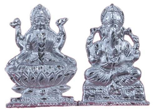 Aluminium Silver Lakshmi Ganesh God Idol White Metal Set By Jy369