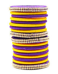 Purple and Yellow Silk Thread Bangle