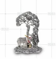 Silver Plated Lord Krishna with Cow and Tree