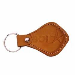Brown Embossed Leather Keyring