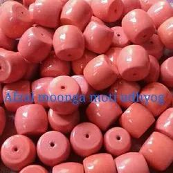 Plain Polished Coral Glass Bead for Necklace, Size: 14 mm