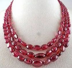 glass beaded ruby necklace
