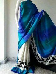 Bishnupur Katan Silk Acid Paint Printed Saree