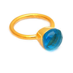 Blue Topaz Quartz Palmeto Gemstone Ring